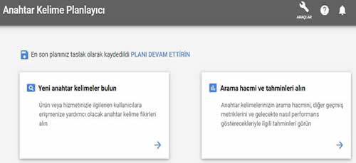 Google Anahtar kelime planlayıcısı