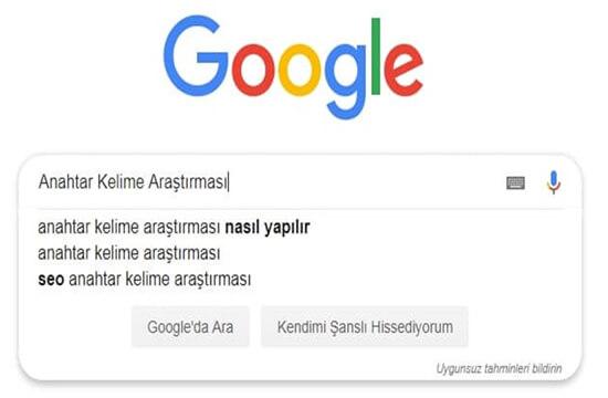 Google Anahtar Kelime Arama Kutusu